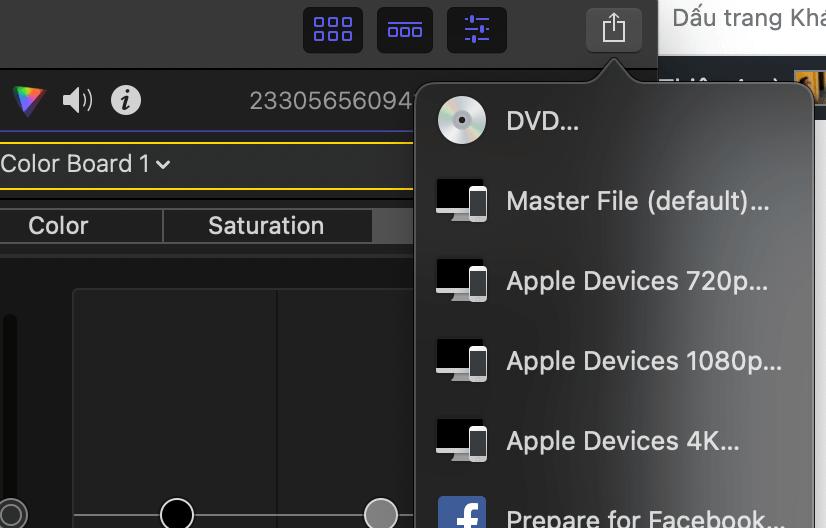 export video phần mềm final cut