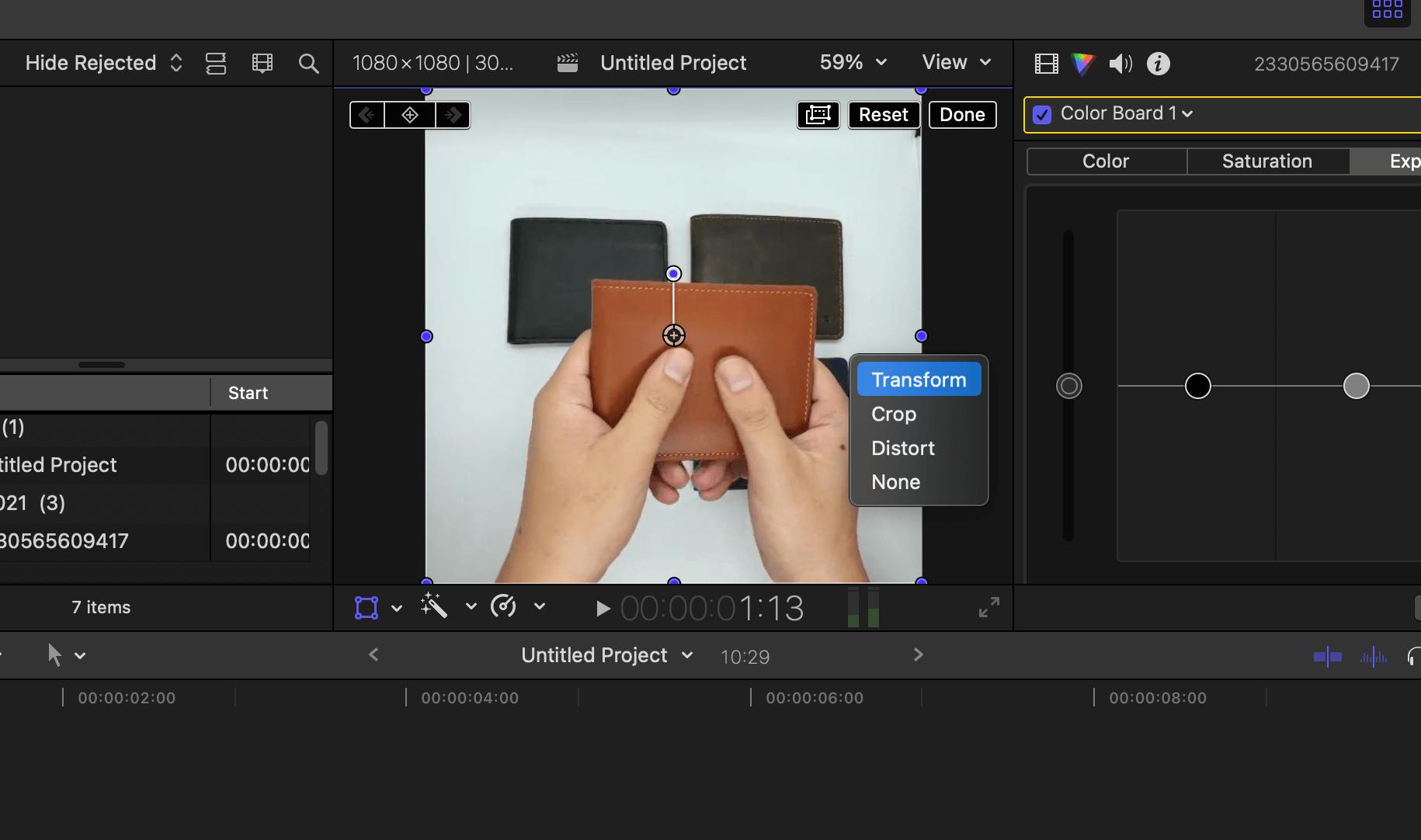 xoay video, chỉnh kích thước video trong final cut